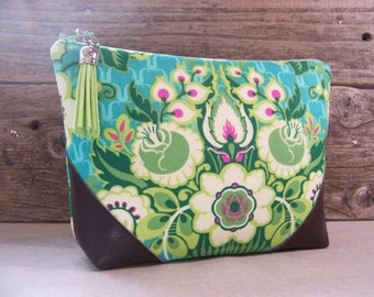 Cosmetic bag - Make up bag clutch in beautiful bright Amy butler green fabric with  faux  leather corners and a vinyl lining ,  make up bag.