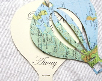 Hot Air Balloon, Favor Tags, Wish Tags, Map/Travel Themed Layered Vintage Paper Tags, Custom Printing