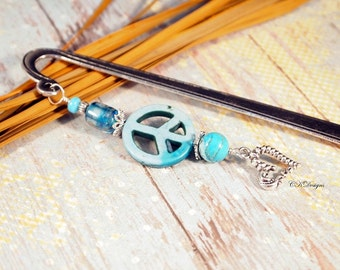 Turquoise Beaded Bookmark. Peace Sign Bookmark,  Hippie Bookmark, Gift For Her, Book Lover, OOAK Handmade Bookmark. CKDesigns.US