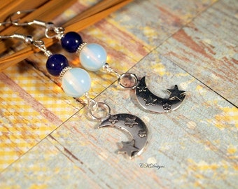 Moon and Star Earrings, Celestial Earrings,  Crescent Moon & Star Beaded Pierced ot Clip-on Earrings. OOAK Handmade Earrings. CKDesaigns.US