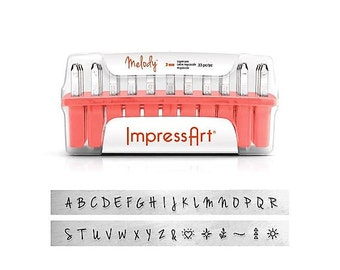ImpressArt 3mm MELODY Metal Stamp Set, Uppercase or Lowercase