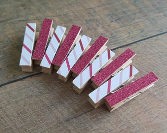 Valentine Clothespins. Decorative Clothespins. Tiny Clothespins. Pink Clothespin. Fuchsia Glitter. Valentine's Day Decor. Bags Topper.