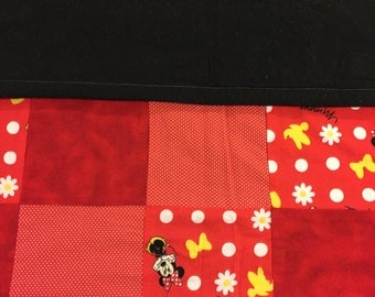 READY TO SHIP- Girl Mouse Quilt, Polka Dots, Red, Black, Yellow, Checkered, Toddler, Crib Size, Lap Quilt, Throw