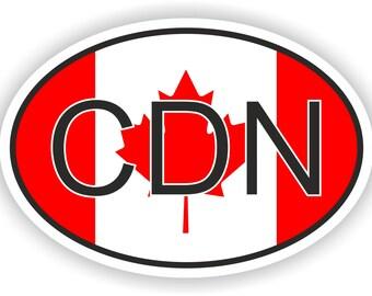 Canada CDN Country Code Oval Sticker with Flag for Bumper Laptop Book Fridge Motorcycle Helmet ToolBox Door Hard Hat Tool Box Locker Truck