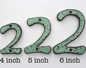 Modern House Numbers - SET of 3 in Aqua Mist Color - Outdoor Letters - 4 inch, 5 inch or 6 inch Size Letters or Numbers - MADE to ORDER