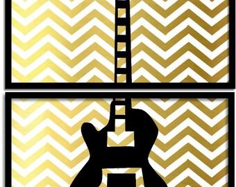 Modern Guitar Art Print  Gibson - Music Room Decor - Guitar Artwork