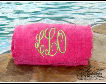 beach towel monogrammed beach towel multiple color options pool towel - Monogrammed Beach Towels