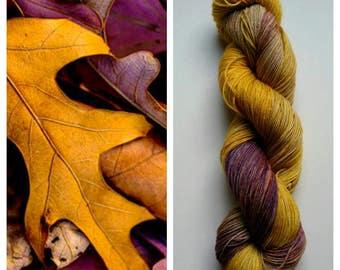Fallen Leaves: hand dyed variegated Merino sock yarn by Star Fiber Studio