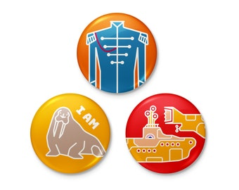 Beatles Pinback or Magnet Button Set | sergeant pepper yellow submarine walrus