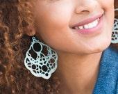 Light Blue Earrings, Western Jewelry, Art Deco Jewelry, Bohemian Jewelry, Large Earrings, Hand Painted Jewelry, Gift Under 30, Daughter Gift