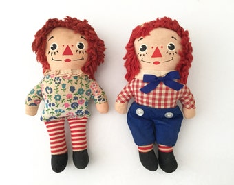 Raggedy Ann Doll Raggedy Andy Doll Vintage Raggedy Ann and Andy Dolls Vintage 1950s Toys Plush Dolls Stuffed Doll 50s Toy Doll