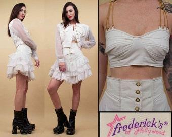 80s Vtg 3pc White DENIM Fredericks of Hollywood CHAIN Strap Bustier - Sheer Sleeve Crop Jacket -High Waisted Ruffled Mini Skirt Set / Sm Med