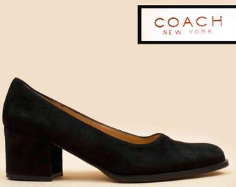 90s Vtg Jet Black COACH Luxury Suede Leather Chunky Platform Heels / Almond Toe Minimalist Modern Chic / 9.5 Eu 41 40