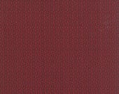 15% off thru 2/22 Moda fabric by 1/2 yard SONGBIRD Primitive Gatherings-dark brown vines on cardinal red- 1164 13