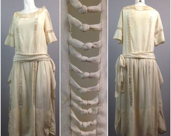 Vintage 1920s Art Deco Creme Silk Sheer Novelty Cutout Flapper Dress / Women's Small / Roaring 20s Sash Summer Dress