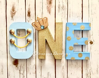 Blue & Gold Prince One Letters
