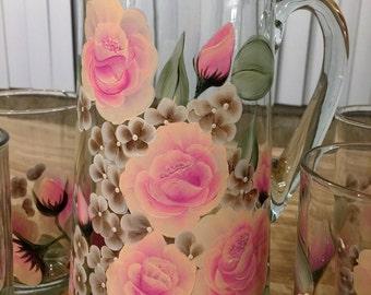 Handpainted Pink/Peach Rose Beverage Set Summer Wedding Gift House warming Gift