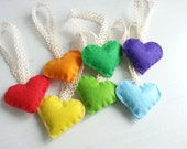 Sales : Rainbow of Love  - Mini Heart Ornaments - Set of 7