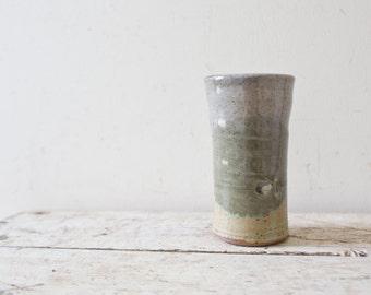 Vintage Ceramic Glazed Pottery - Blue Handmade Vase Container Handmade Pottery Vintage Pottery Vintage Vase