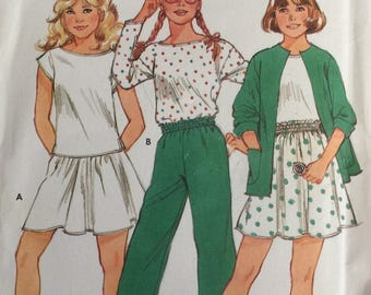 Butterick 4939, Size 7-8-10, Girls' Jacket, Top, Skirt and Pants Pattern, UNCUT, Fast and Easy, Vintage, Casual, School Wear, Play