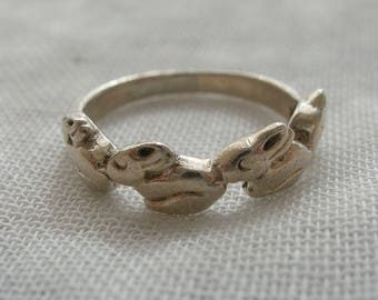 Vintage Sterling Silver Cute Rabbit Ring