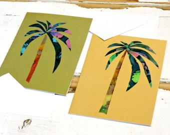 Palm Tree Note Cards, Original Textile Fiber Art Notecards, Desert, Tropical, Beach Blank Greeting Cards, set of 2 itsyourcountry