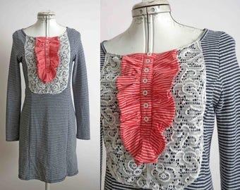 Nautical Lace Bib Dress T shirt Sweater Dress Repurposed