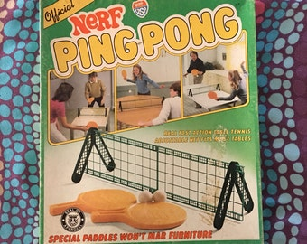 1982 Nerf Ping Pong Table Tennis Game Set Paddles Net Indoor Sports