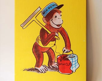 "Curious George   14"" x 10"" Canvas Print Wall Hangings"