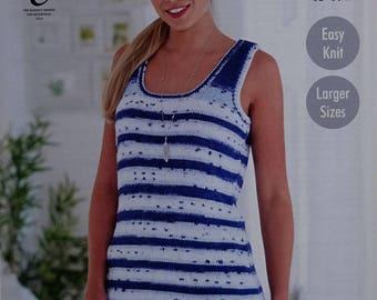 Womens Knitting Pattern K4769 Ladies Easy Knit Scoop Neck Sleeveless Vest Top Knitting Pattern DK (Light Worsted) King Cole