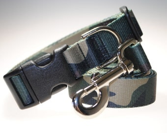 """Camouflage Collar and Leash Combination - 1"""" Width"""