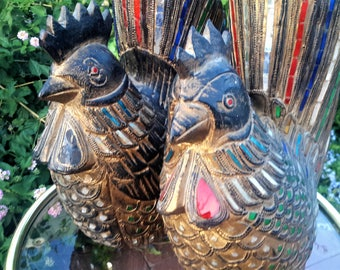 Carved Wood Chicken Sculptures Rooster and Hen Stained Glass Garnish Embellishments Unique Home Decor
