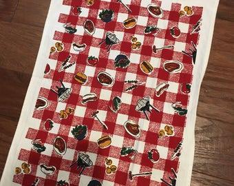 Vintage Decorative Linen Tea Kitchen Towel barbecue design UNUSED