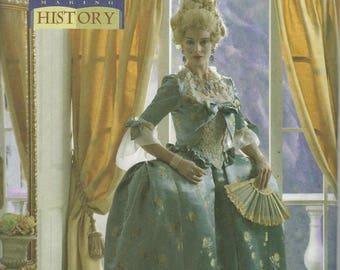 UNCUT Misses' 18th Century Court Dress  Costume Pattern Butterick 4485 Misses' 6 - 12