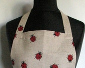 Linen Kitchen Utility Apron Valentines Day Gift Easter Gardening Aprons Teachers Apron Natural Gray Ladybug Red Black