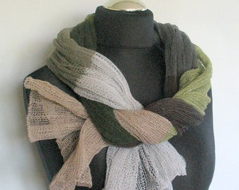 Linen Scarf Infinity Scarf Knit Scarf Shawl Wrap Striped Scarf Stripes Scarf Gray Beige Brown Green Moss