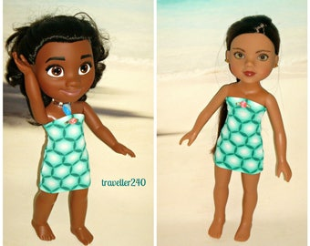 "Doll Clothes ""Seaside Aqua"" Dress for 14 Inch Dolls, Handmade to fit Hearts For Hearts and 14"" Jakks Disney Moana, by traveller240"