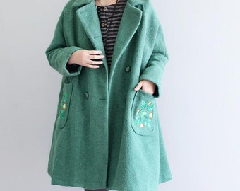Leisure large size wool coat Green double breasted wool Overcoat