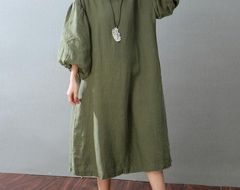 Olive Green Dress White Dress puff sleeve Loose long dress