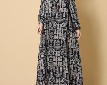 Women maxi dress Loose spring long dress Printed long sleeves dress