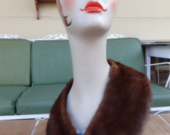 Vintage women's genuine mink collar scarf  mahogany winter accessories retro wrap