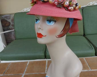 Vintage women's hat 1930's pink straw fruit cloche early millinery Lucila Mendez retro