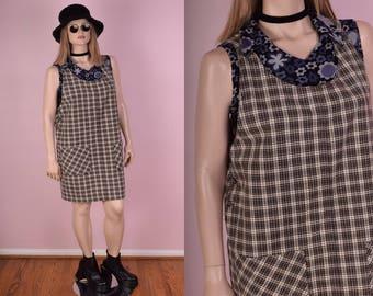 90s Plaid Jumper Dress/ 1X/ 1990s/ Overall Dress