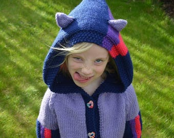knitting pattern - Striped Pony Hoodie cardigan for children