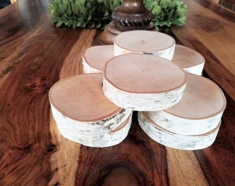 """10 THICK 4"""" Birch tree slices -  DIY projects - Wedding decor - Coasters - Picture frames - Fake Fireplace - Birch logs - Wood tree slices"""