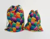 Colorful Frogs Birthday Drawstring Fabric Gift Bag Upcycled, Reusable