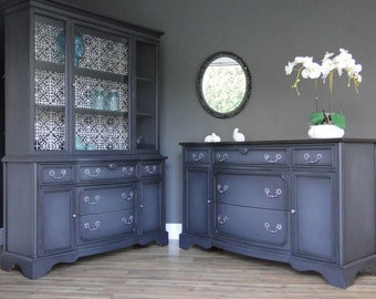 "SOLD***   Vintage Buffet, Sideboard, Entry Table, China Cabinet Hutch Dark Gray, Dark Stained Top ""Double Twillight"" Modern Vintage"