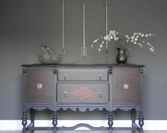 "SOLD***   Antique Buffet, Sideboard, Entry Table Darkest Gray With Dark Stained Top & Front ""Ultra Dark"" Modern Vintage"