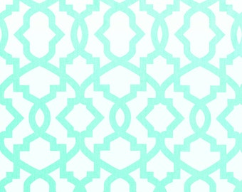 Mint White Sheffield Trellis Curtains - Rod Pocket 63 72 84 90 96 108 or 120 Long by 24 or 50 Wide