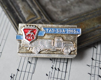 """Vintage Soviet Russian badge,pin. """"Soviet Russian truck-GAZ 53A"""""""